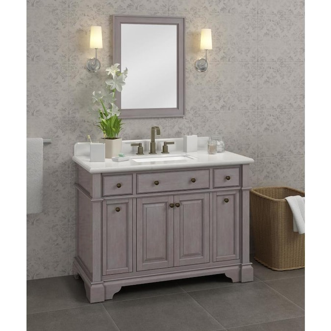 Casanova 48 In Gray Undermount Single Sink Bathroom Vanity With Ariston Quartz Top In The Bathroom Vanities With Tops Department At Lowes Com