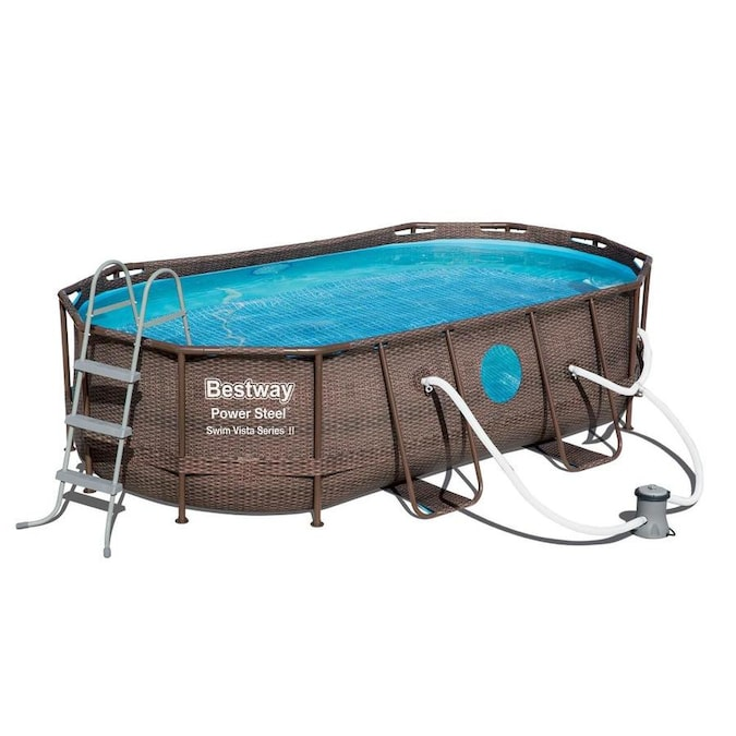 Bestway Power Steel 14 Ft X 8 Ft X 40 In Oval Above Ground Pool In The Above Ground Pools Department At Lowes Com