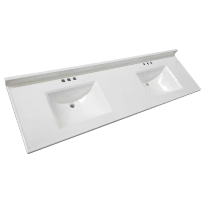 Design House Camilla 73 In Solid White Cultured Marble Double Sink Bathroom Vanity Top In The Bathroom Vanity Tops Department At Lowes Com