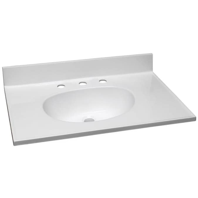 Design House 31 In Solid White Cultured Marble Single Sink Bathroom Vanity Top In The Bathroom Vanity Tops Department At Lowes Com