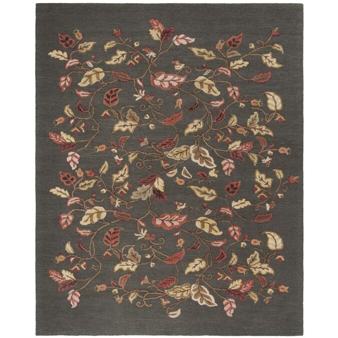 Martha Stewart Autumn Woods 9 X 12 Francesca Black Indoor Floral Botanical Handcrafted Area Rug In The Rugs Department At Lowes Com