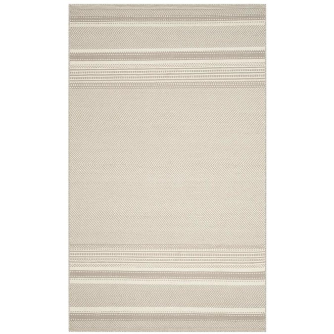 Safavieh Kilim Diya 4 X 6 Gray Ivory Indoor Stripe Oriental Handcrafted Area Rug In The Rugs Department At Lowes Com