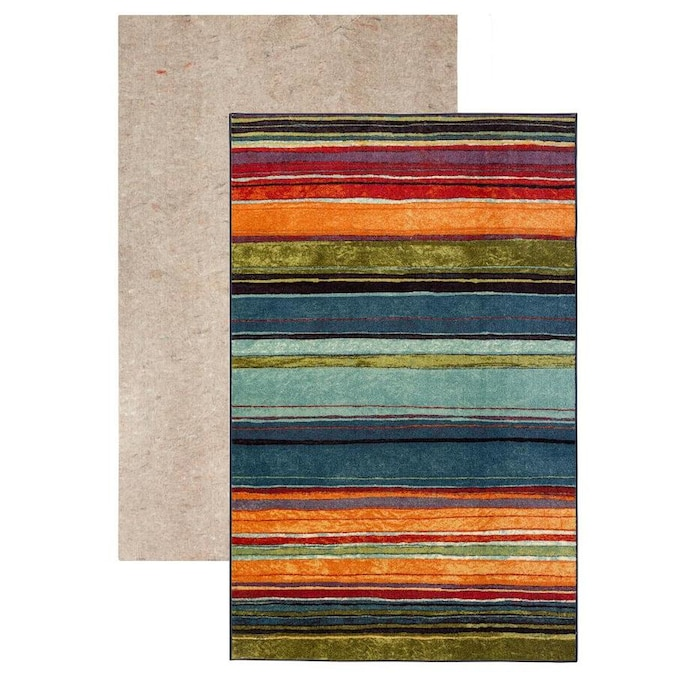 Mohawk Home New Wave 2 Piece Set 5 X 8 Rainbow Stripe Mid Century Modern Area Rug In The Rugs Department At Lowes Com