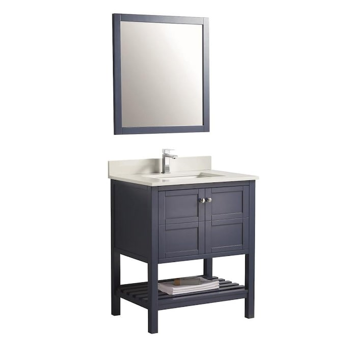 Bellaterra Home 34 In Black Undermount Single Sink Bathroom Vanity With White Glass Top In The Bathroom Vanities With Tops Department At Lowes Com