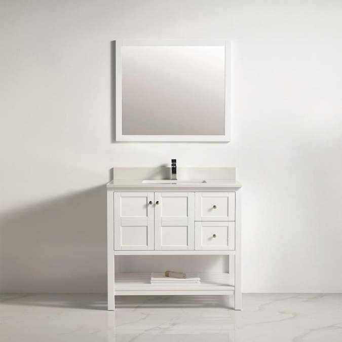 Clihome 34 In White Single Sink Bathroom Vanity With Blue Ceramic Top Mirror Included In The Bathroom Vanities With Tops Department At Lowes Com