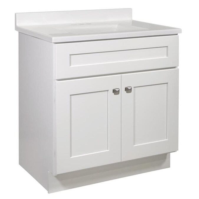 Design House Brookings 31 In White Single Sink Bathroom Vanity With Solid White Cultured Marble Top In The Bathroom Vanities With Tops Department At Lowes Com