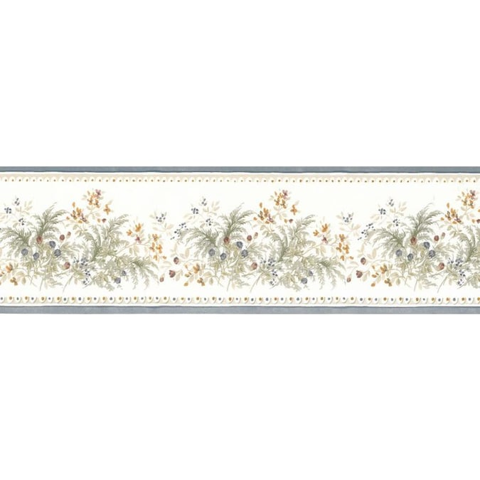Dundee Deco 3 5 In Floral Blue Beige Grey Orange Blooming Flowers Prepasted Wallpaper Border In The Wallpaper Borders Department At Lowes Com