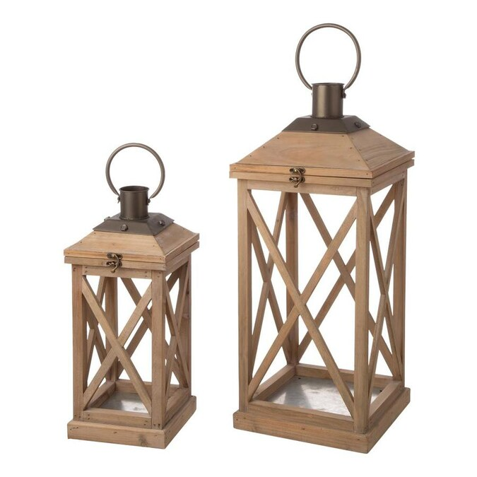 Glitzhome 2 Candle Wood Lantern Candle Holder In The Candle Holders Department At Lowes Com