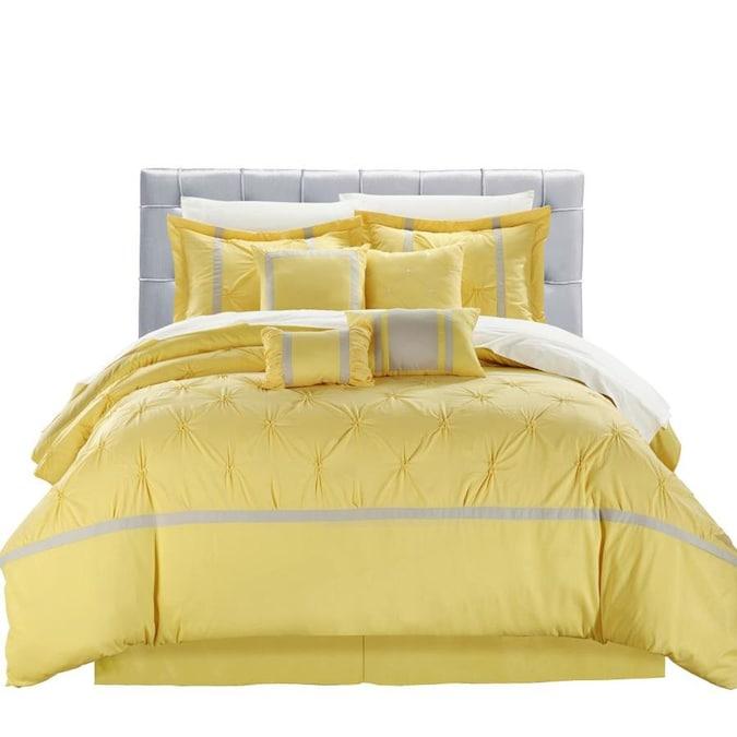 Chic Home Design Vermont 12 Piece, Yellow King Bedding