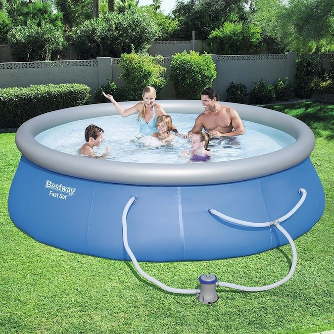 Bestway 12 Ft X 12 Ft X 30 In Round Above Ground Pool In The Above Ground Pools Department At Lowes Com
