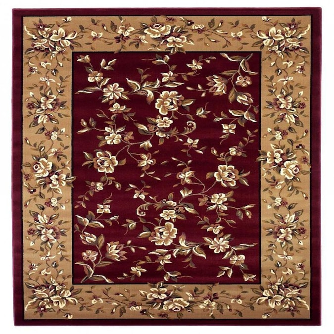 Homeroots Bernadette 7 X 7 Red Beige Round Indoor Border Area Rug In The Rugs Department At Lowes Com