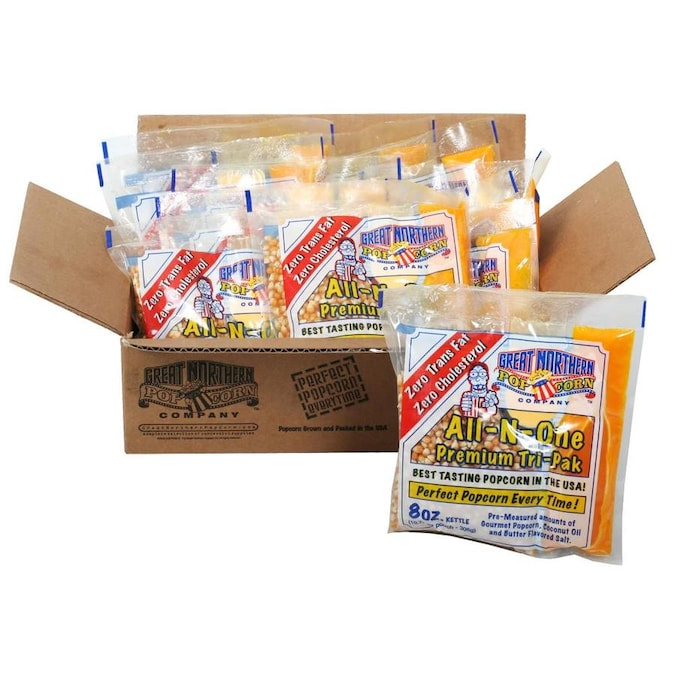 Great Northern Popcorn Great Northern Popcorn 8 Ounce All In One Popcorn Packs Box Of 12 Kernels Salt Seasoning And Coconut Oil Portion Kits In The Snacks Candy Department At Lowes Com