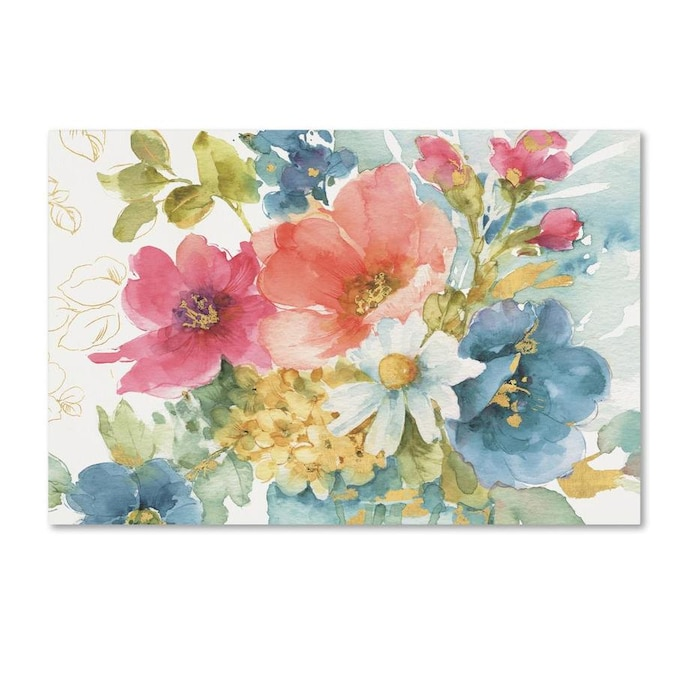Trademark Fine Art Floral And Botanical Framed 22 In H X 32 In W Floral Canvas Print In The Wall Art Department At Lowes Com
