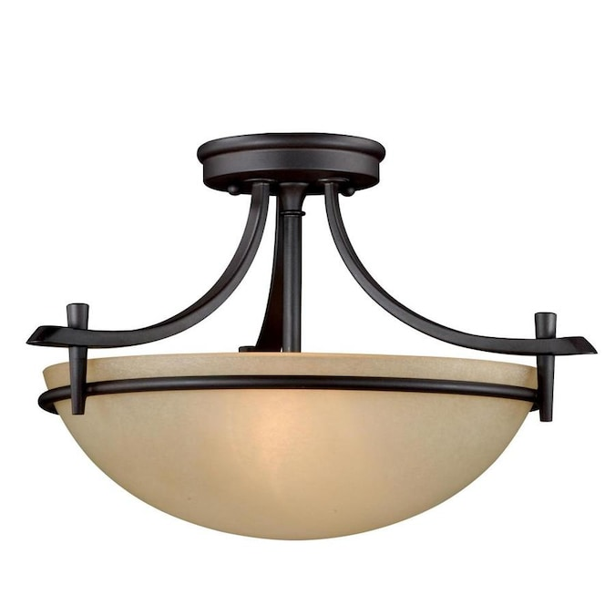 Cascadia Somerville 15 In Oil Rubbed Bronze Craftsman Incandescent Semi Flush Mount Light In The Flush Mount Lighting Department At Lowes Com