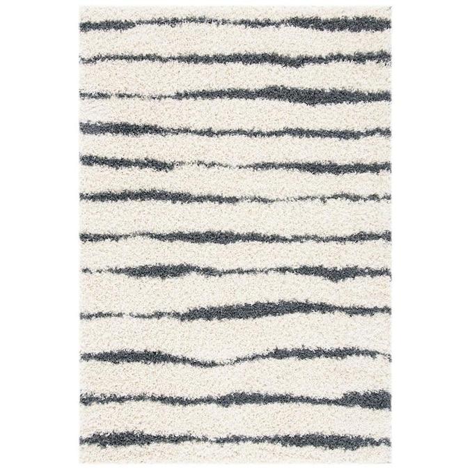 Safavieh Venus Moeidur Shag 3 X 5 Ivory Dark Gray Indoor Stripe Throw Rug In The Rugs Department At Lowes Com