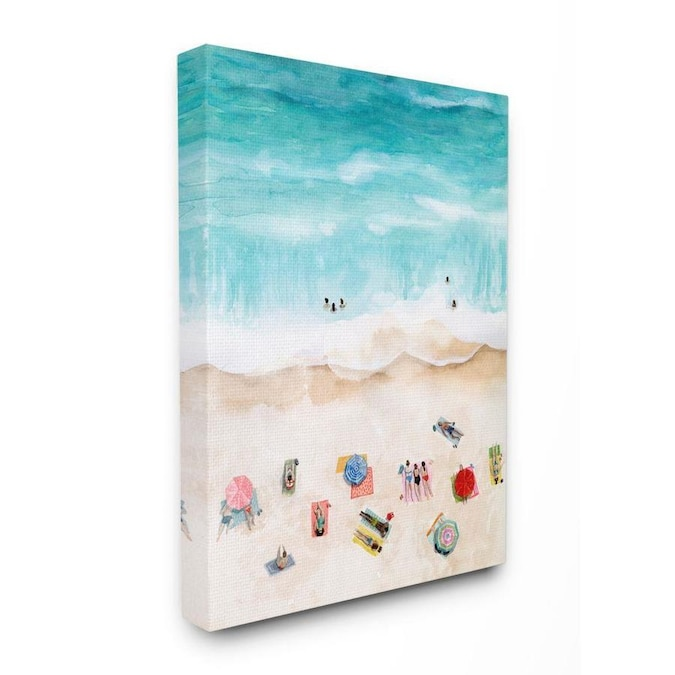 Stupell Industries Beach Family Coast Ocean Blue Watercolor Painting Frameless 20 In H X 16 In W Abstract Canvas Print In The Wall Art Department At Lowes Com