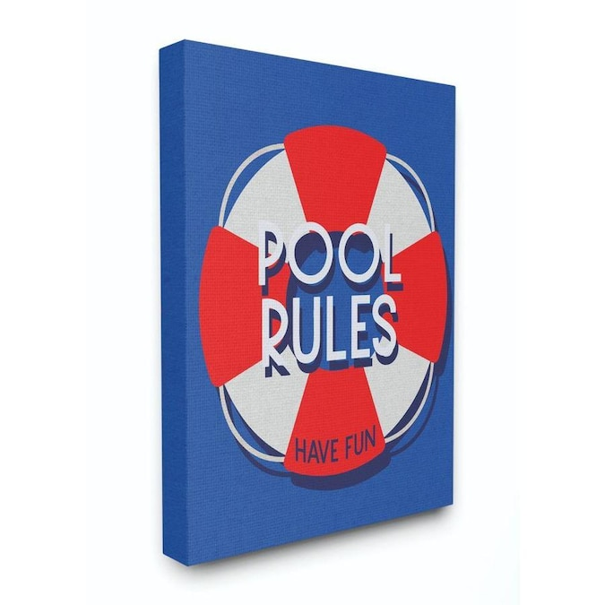 Stupell Industries Pool Rules Beach Coast Ocean Blue Red Word Design Frameless 20 In H X 16 In W Abstract Canvas Print In The Wall Art Department At Lowes Com