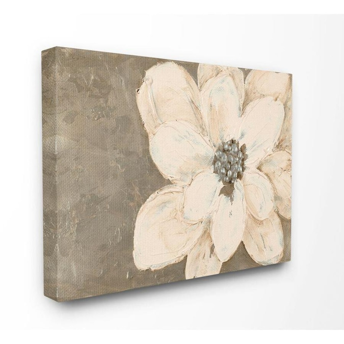 Stupell Industries Abstract Gold Silver Flower Collage Painting Frameless 40 In H X 30 In W Abstract Canvas Print In The Wall Art Department At Lowes Com
