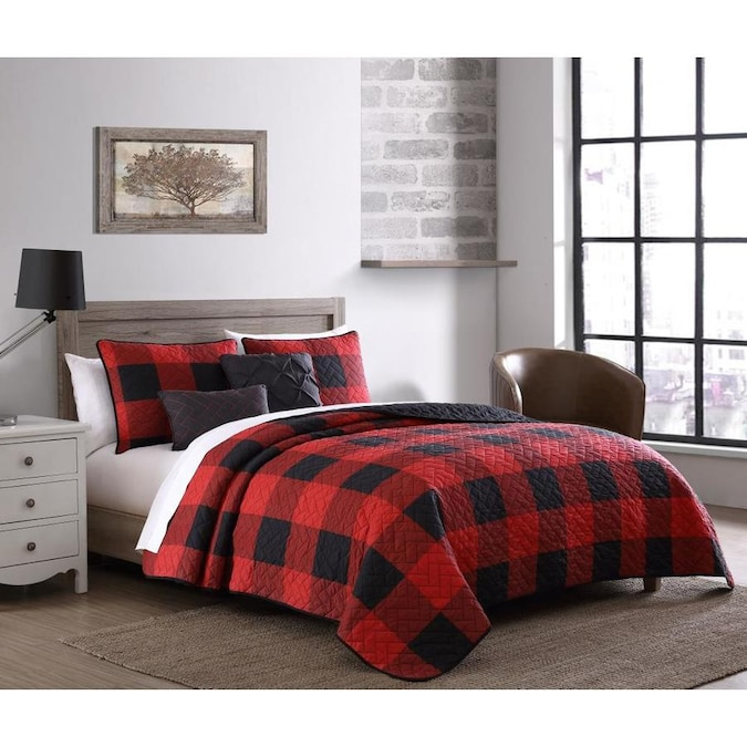 Fashion Buffalo Plaid 5 Piece Red, Red And Black Plaid Queen Bedding