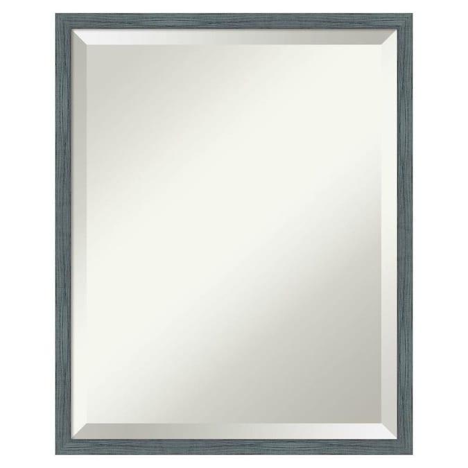 Amanti Art Dixie Blue Grey Rustic Narrow Frame Collection 17 In Dixie Blue Grey Rustic Rectangular Bathroom Mirror In The Bathroom Mirrors Department At Lowes Com