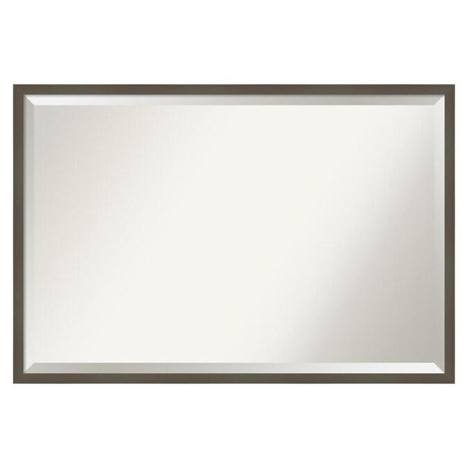 Amanti Art Svelte Clay Grey Frame, Landover Rustic Distressed Bathroom Vanity Mirror
