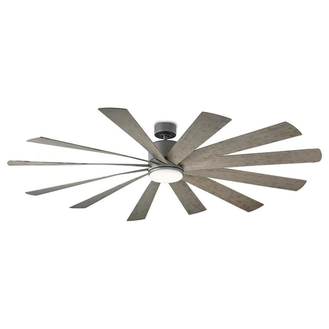 Modern Forms Windflower Graphite 80 In Led Indoor Outdoor Smart Ceiling Fan With Remote 12 Blade In The Ceiling Fans Department At Lowes Com