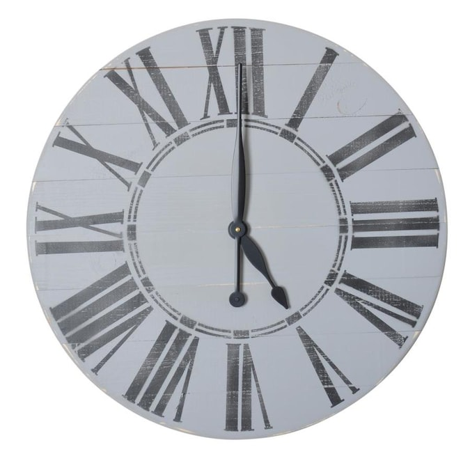 Brandtworks Oversized Gray Farmhouse Wall Clock In The Clocks Department At Lowes Com