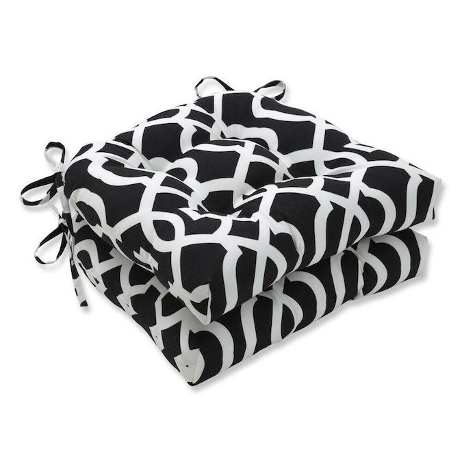 Pillow Perfect New Geo Black White 2 Piece Black Patio Chair Cushion In The Patio Furniture Cushions Department At Lowes Com