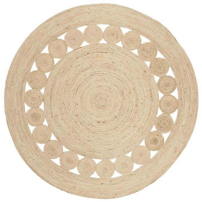 Safavieh Natural Fiber Skitter 8 X 8 Ivory Round Indoor Abstract Handcrafted Area Rug In The Rugs Department At Lowes Com