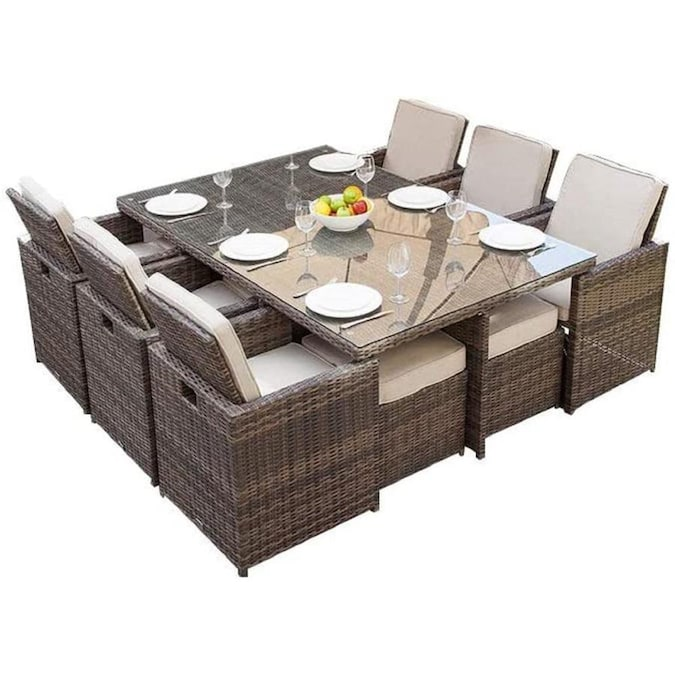 Direct Wicker Alana 11 Piece Brown Frame Patio Set With Beige Sunbrella Cushions In The Patio Dining Sets Department At Lowes Com