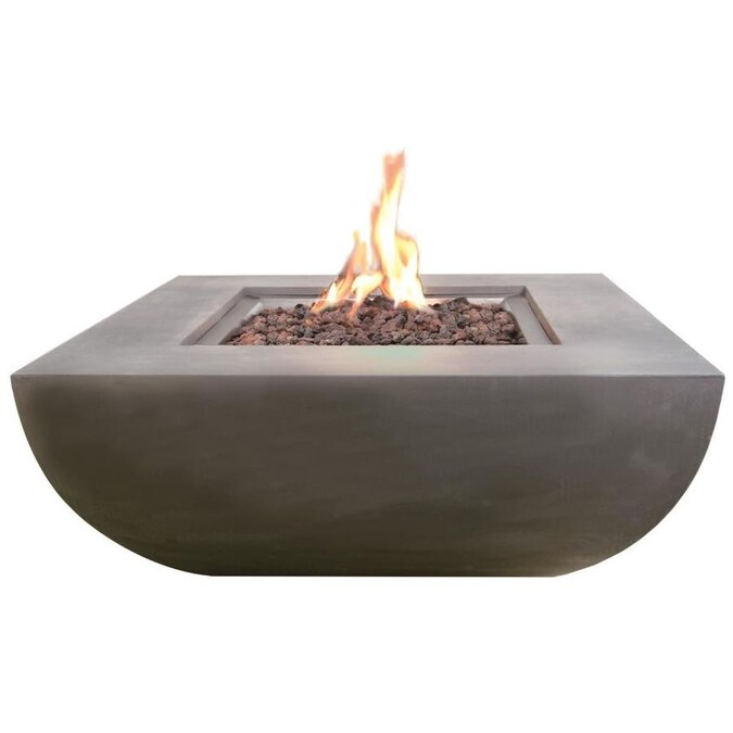 Elementi Westport 34 In W 50000 Btu Grey Concrete Concrete Natural Gas Fire Pit In The Gas Fire Pits Department At Lowes Com