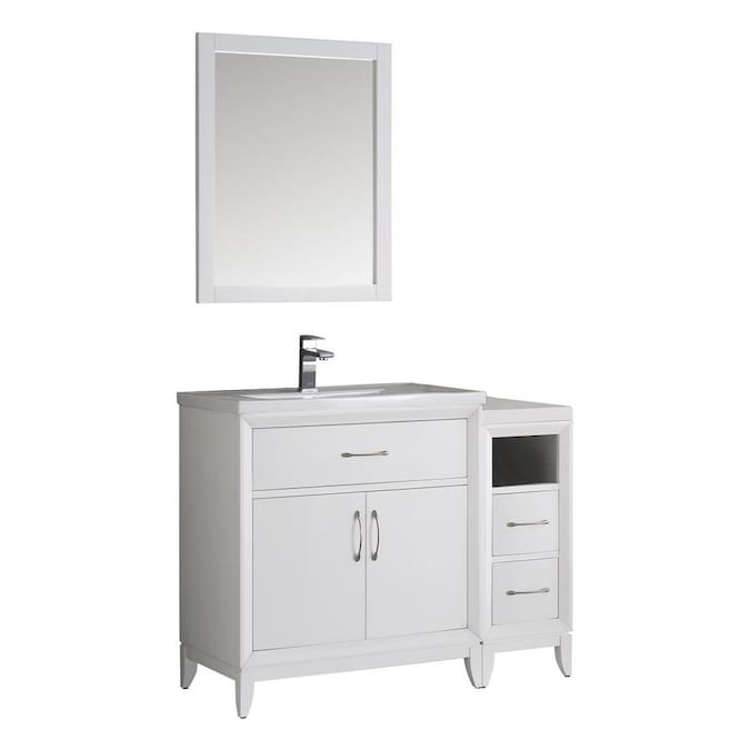 Fresca Bari 36 In White Single Sink Bathroom Vanity With White Ceramic Top Mirror And Faucet Included In The Bathroom Vanities With Tops Department At Lowes Com