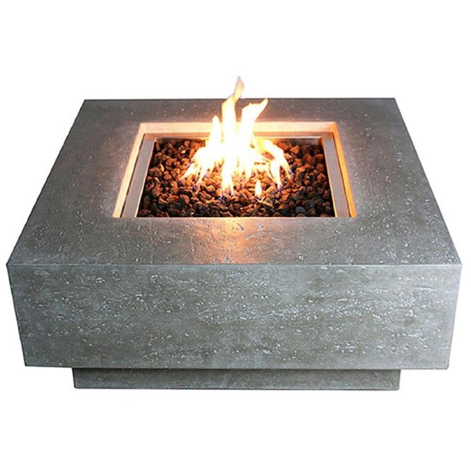 Real Flame Ledgestone 48 In W 65000 Btu Gray Ledgestone Portable Composite Propane Gas Fire Pit In The Gas Fire Pits Department At Lowes Com