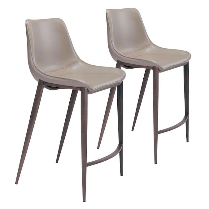 Worldwide Homefurnishings Set Of 2 Vintage Grey Counter Height Upholstered Bar Stool In The Bar Stools Department At Lowes Com