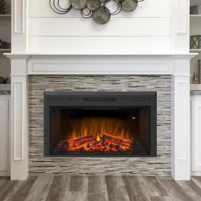 Glitzhome 35 6 In W Black Fan Forced Electric Fireplace In The Electric Fireplaces Department At Lowes Com