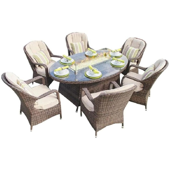 Direct Wicker Eton 7 Piece Brown Frame Patio Set With Beige Sunbrella Cushions In The Patio Dining Sets Department At Lowes Com