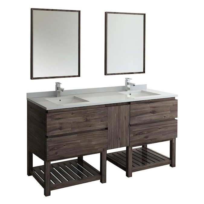 Fresca Stella 72 In Acacia Wood Undermount Double Sink Bathroom Vanity With White Quartz Top Mirror And Faucet Included In The Bathroom Vanities With Tops Department At Lowes Com