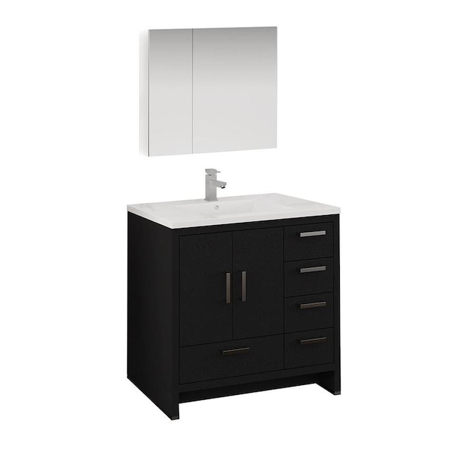 Fresca Senza 36 In Dark Gray Oak Single Sink Bathroom Vanity With White Acrylic Top Faucet Included In The Bathroom Vanities With Tops Department At Lowes Com