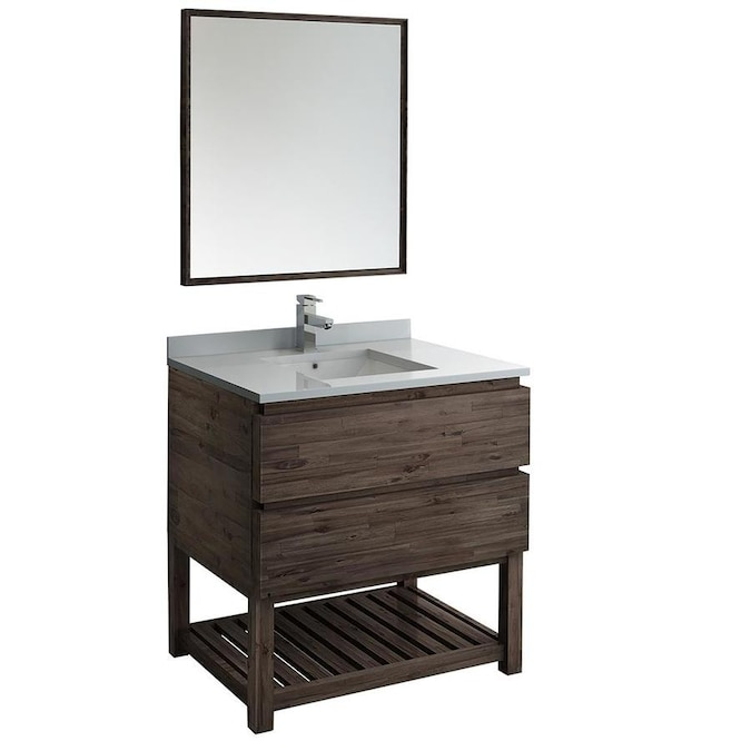 Fresca Stella 36 In Acacia Wood Undermount Single Sink Bathroom Vanity With White Quartz Top Mirror And Faucet Included In The Bathroom Vanities With Tops Department At Lowes Com