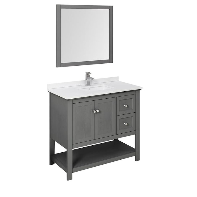 Fresca Cambria 42 In Gray Undermount Single Sink Bathroom Vanity With White Quartz Top Mirror And Faucet Included In The Bathroom Vanities With Tops Department At Lowes Com