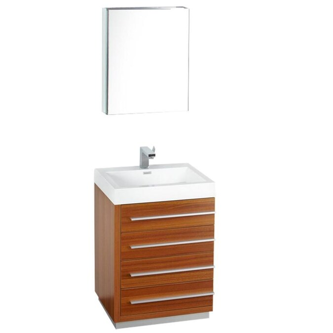 Fresca Senza 23 In Teak Single Sink Bathroom Vanity With White Acrylic Top Faucet Included In The Bathroom Vanities With Tops Department At Lowes Com