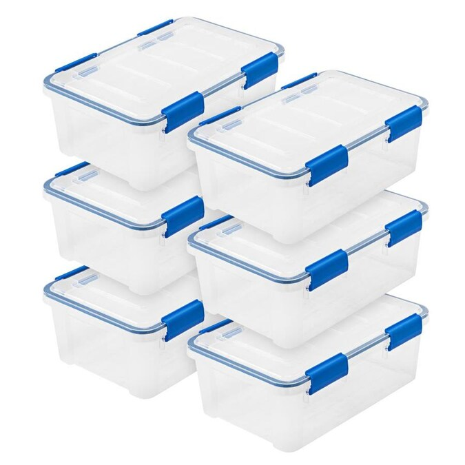 Iris 6 Pack Weathertight 4 Gallon 16 Quart Clear Tote With Latching Lid In The Plastic Storage Totes Department At Lowes Com