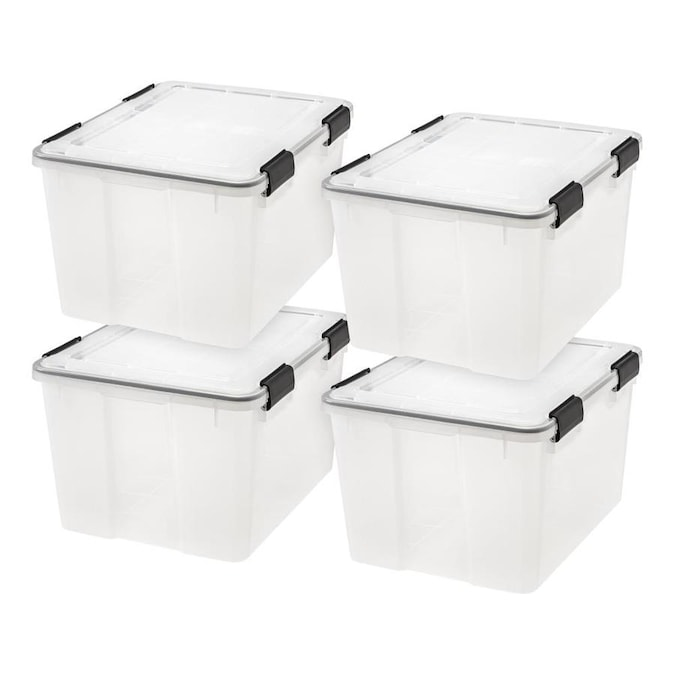 Iris 4 Pack Weathertight 11 5 Gallon 46 Quart Clear Tote With Latching Lid In The Plastic Storage Totes Department At Lowes Com