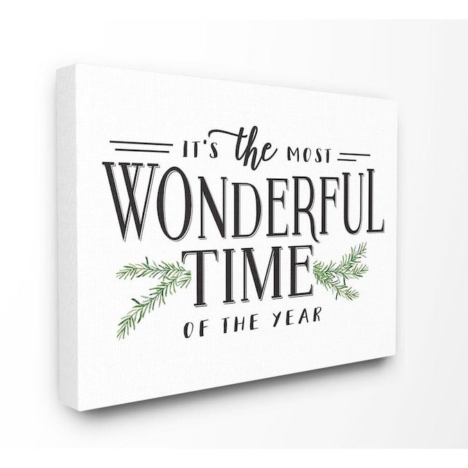 Stupell Industries Most Wonderful Time Christmas Holiday Word Design Frameless 40 In H X 30 In W Abstract Canvas Print In The Wall Art Department At Lowes Com