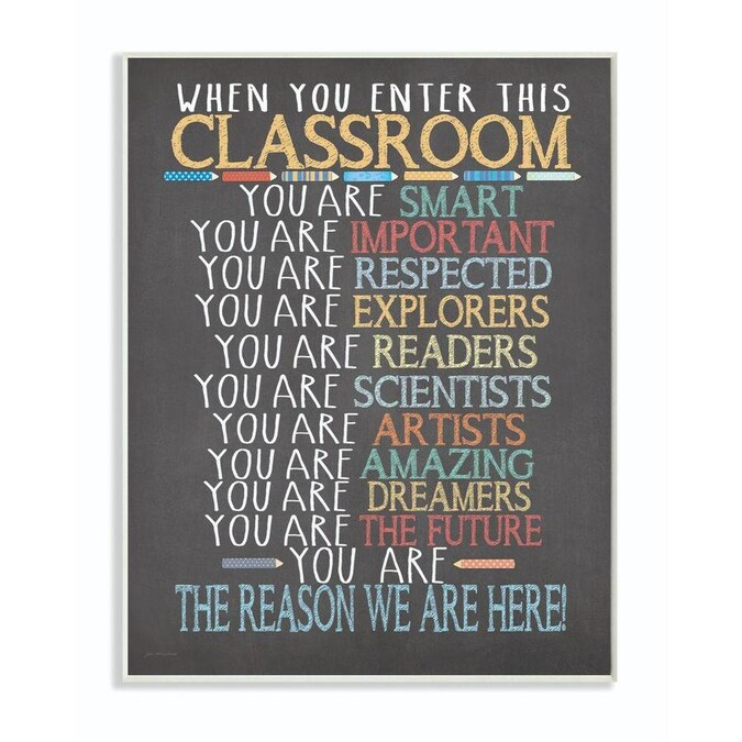 Stupell Industries Classroom Rules Rainbow Chalk Frameless 15 In H X 10 In W Kids Wood Print In The Wall Art Department At Lowes Com
