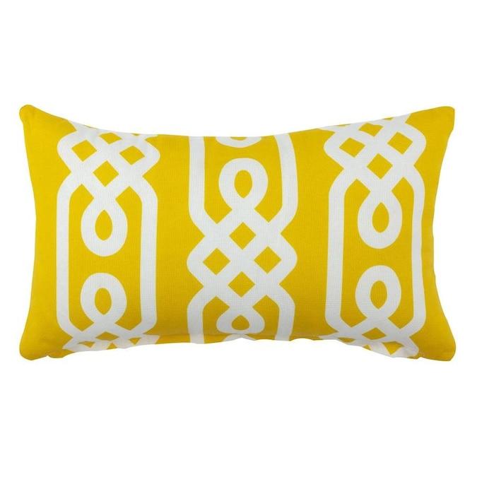 Divine Home Geometric Yellow Rectangular Nautical Lumbar Pillow In The Outdoor Decorative Pillows Department At Lowes Com