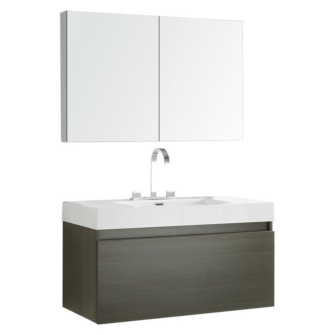 Fresca Senza 39 In Gray Oak Single Sink Bathroom Vanity With White Acrylic Top Faucet Included In The Bathroom Vanities With Tops Department At Lowes Com