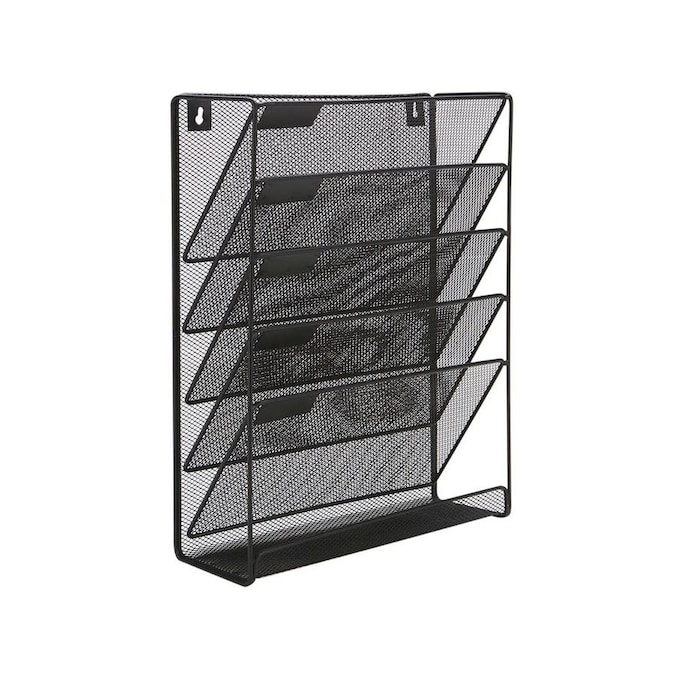 Mind Reader Mind Reader Hanging Wall File Organizer 91 6 Compartment 93 Wall Mounted Vertical File Folder And Chart Holder Magazine Letters Or Mail Slot Rack With Pencil Note Pad And Office Supplies Tray