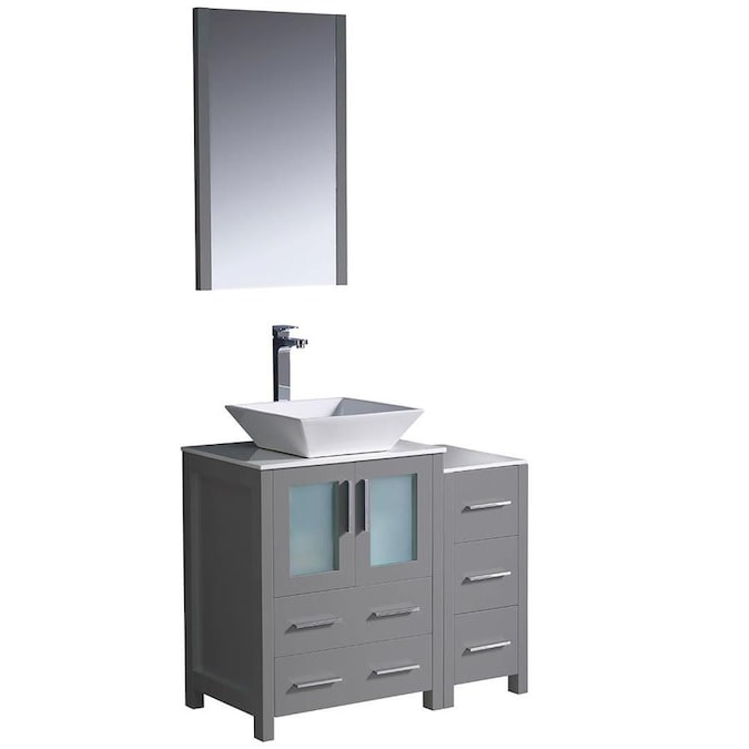 Fresca Bari 36 In Gray Single Sink Bathroom Vanity With White Ceramic Top Mirror And Faucet Included In The Bathroom Vanities With Tops Department At Lowes Com