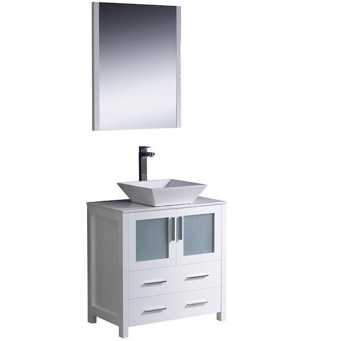 Fresca Bari 30 In White Single Sink Bathroom Vanity With White Ceramic Top Mirror And Faucet Included In The Bathroom Vanities With Tops Department At Lowes Com